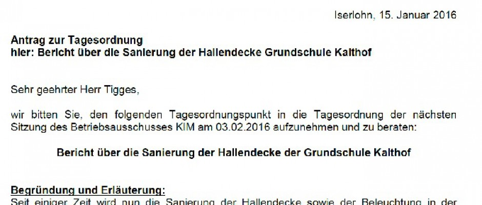 Antrag – Bericht über die Sanierung der Hallendecke Grundschule Kalthof