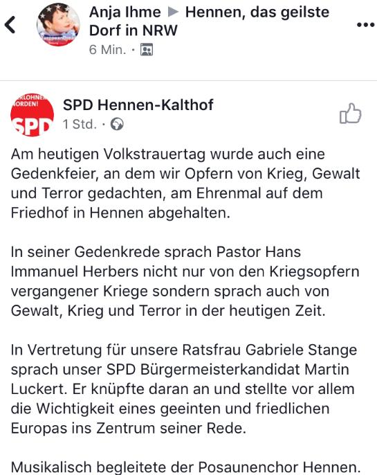 """Facebook Beitrag der SPD Hennen-Kalthof in der Gruppe """"Hennen"""" durch Anja Ihme"""