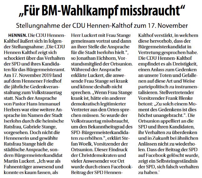 Quelle: Stadtspiegel Iserlohn vom 20.11.2019